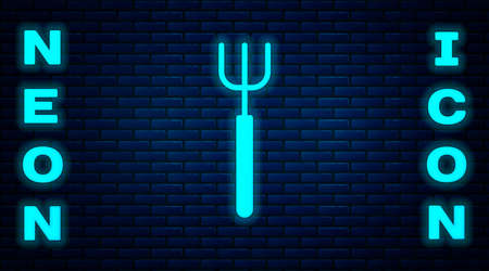 Glowing neon Garden pitchfork icon isolated on brick wall background. Garden fork sign. Tool for horticulture, agriculture, farming. Vector