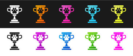 Set Pet award symbol icon isolated on black and white background. Medal with dog footprint as pets exhibition winner concept. Vector