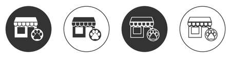 Black Veterinary medicine hospital, clinic or pet shop for animals icon isolated on white background. Vet or veterinarian clinic. Circle button. Vector  イラスト・ベクター素材