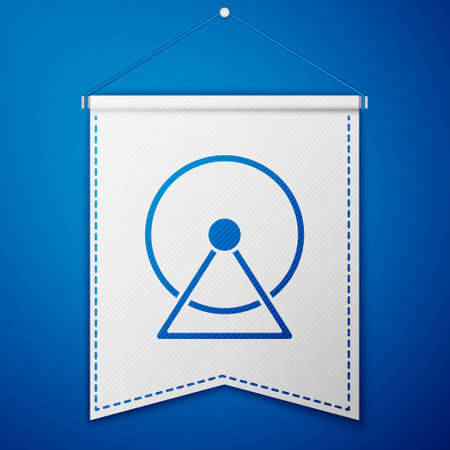 Blue Hamster wheel icon isolated on blue background. Wheel for rodents. Pet shop. White pennant template. Vector