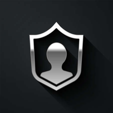 Silver User protection icon isolated on black background. Secure user login, password protected, personal data protection, authentication. Long shadow style. Vector