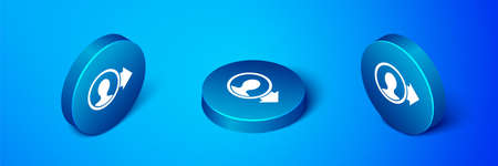 Isometric Create account screen icon isolated on blue background. Blue circle button. Vector