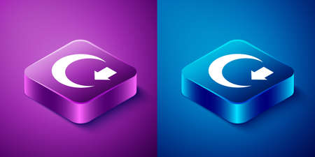 Isometric Moon icon isolated on blue and purple background. Square button. Vector Ilustração
