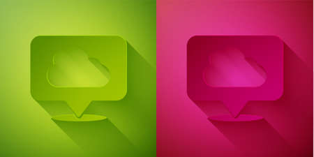 Paper cut Location cloud icon isolated on green and pink background. Paper art style. Vector