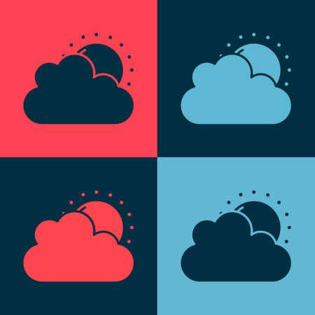 Pop art Sun and cloud weather icon isolated on color background. Vector Illusztráció