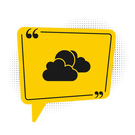 Black Sun and cloud weather icon isolated on white background. Yellow speech bubble symbol. Vector Illusztráció
