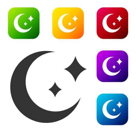 Black Moon and stars icon isolated on white background. Set icons in color square buttons. Vector
