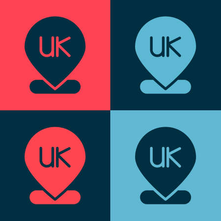 Pop art Location England icon isolated on color background. Vector