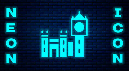 Glowing neon Big Ben tower icon isolated on brick wall background. Symbol of London and United Kingdom. Vector 向量圖像