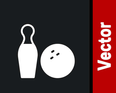 White Bowling pin and ball icon isolated on black background. Sport equipment. Vector