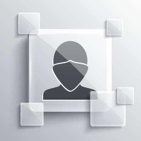 Grey Vandal icon isolated on grey background. Square glass panels. Vector