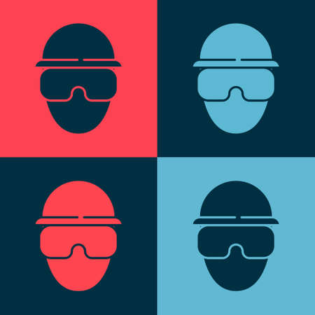 Pop art Special forces soldier icon isolated on color background. Army and police symbol of defense. Vector