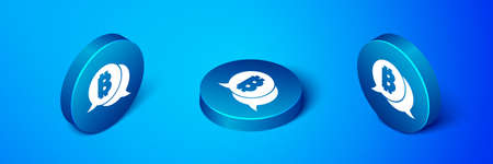 Isometric Cryptocurrency coin Bitcoin icon isolated on blue background. Physical bit coin. Blockchain based secure crypto currency. Blue circle button. Vector Ilustracja