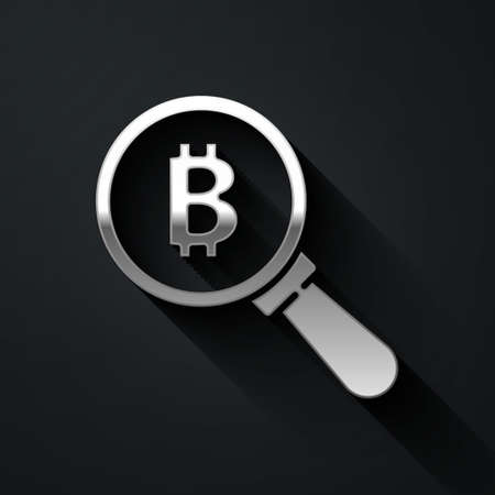 Silver Magnifying glass with Bitcoin icon isolated on black background. Physical bit coin. Blockchain based secure crypto currency. Long shadow style. Vector Ilustracja