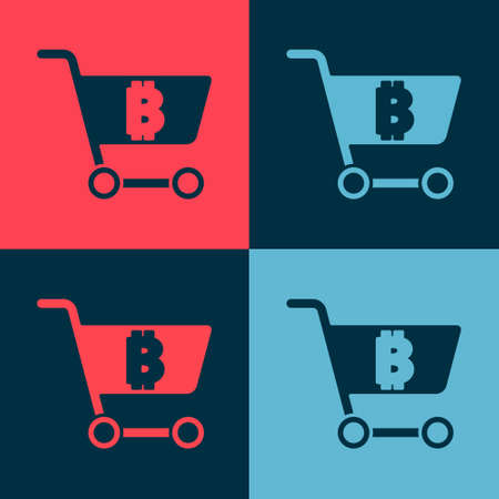 Pop art Shopping cart with bitcoin icon isolated on color background. Online payment. Cash withdrawal. Modern method of payment. Vector