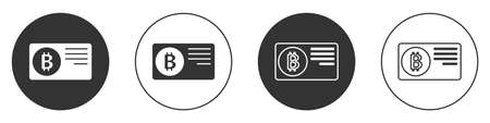 Black Credit card with bitcoin icon isolated on white background. Online payment. Cash withdrawal. Modern method of payment. Circle button. Vector Ilustracja