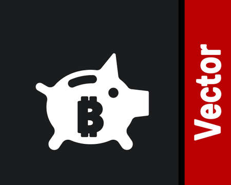 White Piggy bank bitcoin icon isolated on black background. Icon saving or accumulation of money, investment. Vector