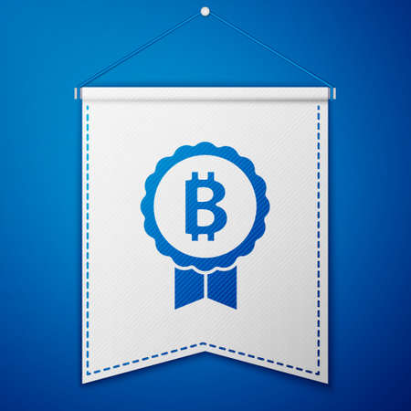 Blue Cryptocurrency coin Bitcoin icon isolated on blue background. Physical bit coin. Blockchain based secure crypto currency. White pennant template. Vector Ilustracja