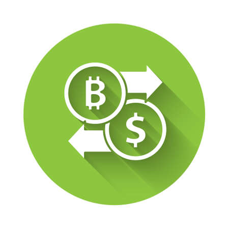 White Cryptocurrency exchange icon isolated with long shadow. Bitcoin to dollar exchange icon. Cryptocurrency technology, mobile banking. Green circle button. Vector