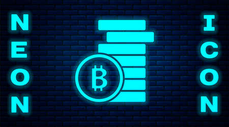 Glowing neon Cryptocurrency coin Bitcoin icon isolated on brick wall background. Physical bit coin. Blockchain based secure crypto currency. Vector Ilustracja