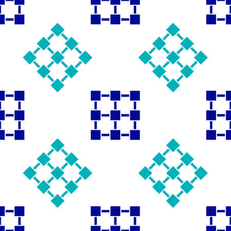 Blue Blockchain technology icon isolated seamless pattern on white background. Cryptocurrency data. Abstract geometric block chain network technology business. Vector