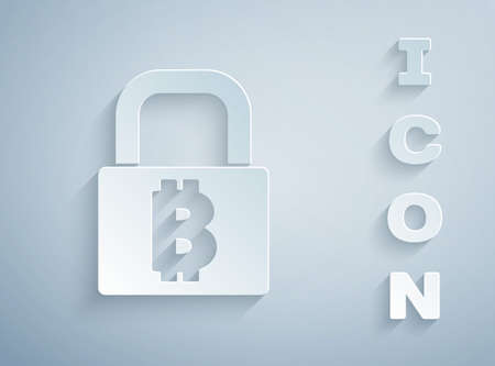 Paper cut Lock with bitcoin icon isolated on grey background. Cryptocurrency mining, blockchain technology, security, protect, digital money. Paper art style. Vector
