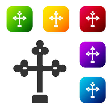 Black Christian cross icon isolated on white background. Church cross. Set icons in color square buttons. Vector