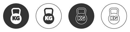 Black Kettlebell icon isolated on white background. Sport equipment. Circle button. Vector