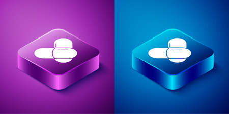 Isometric Sports nutrition bodybuilding proteine power drink and food icon isolated on blue and purple background. Square button. Vector.