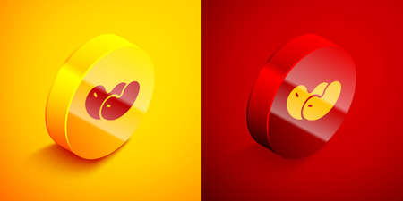 Isometric Beans icon isolated on orange and red background. Circle button. Vector