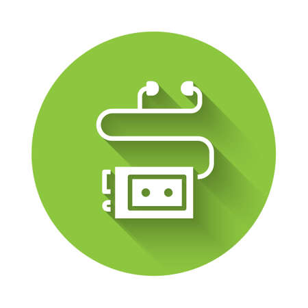 White Museum audio guide icon isolated with long shadow. Headphones for excursions. Green circle button. Vector Illustration