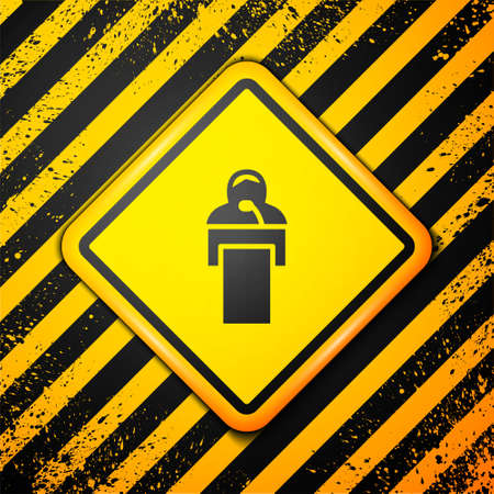 Black Gives lecture icon isolated on yellow background. Stand near podium. Speak into microphone. The speaker lectures and gestures. Warning sign. Vector