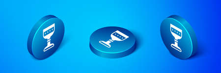 Isometric Medieval goblet icon isolated on blue background. Blue circle button. Vector