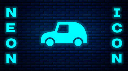 Glowing neon Toy car icon isolated on brick wall background. Vector