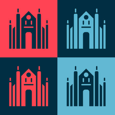 Pop art Milan Cathedral or Duomo di Milano icon isolated on color background. Famous landmark of Milan, Italy. Vector