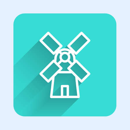 White line Windmill icon isolated with long shadow. Green square button. Vector