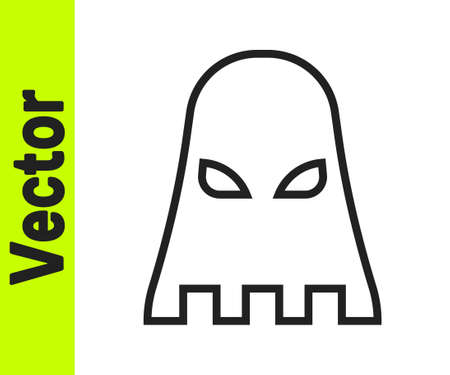 Black line Executioner mask icon isolated on white background. Hangman, torturer, executor, tormentor, butcher, headsman icon. Vector