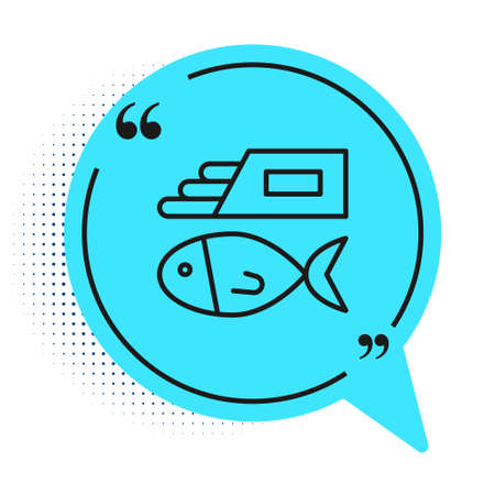 Black line Fish and chips icon isolated on white background. Blue speech bubble symbol. Vector