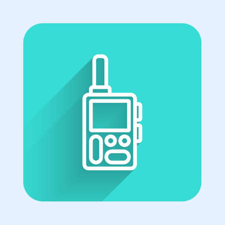 White line Walkie talkie icon isolated with long shadow. Portable radio transmitter icon. Radio transceiver sign. Green square button. Vector