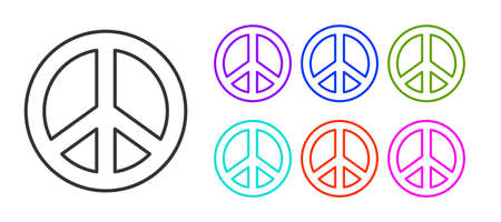 Black line Peace icon isolated on white background. Hippie symbol of peace. Set icons colorful. Vector