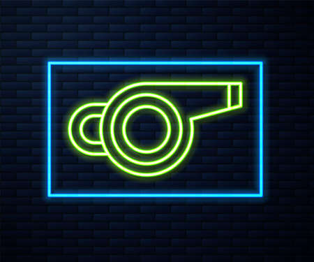 Glowing neon line Whistle icon isolated on brick wall background. Referee symbol. Fitness and sport sign. Vector Illustration