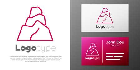 Logotype line Rock stones icon isolated on white background. Logo design template element. Vector Stock Illustratie