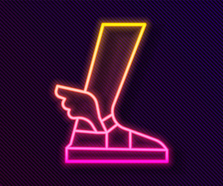 Glowing neon line Hermes sandal icon isolated on black background. Ancient greek god Hermes. Running shoe with wings. Vector