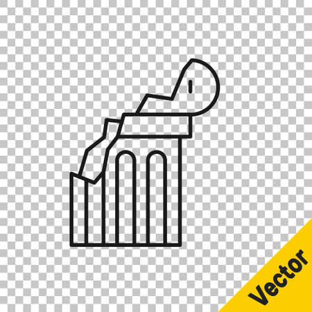 Black line Broken ancient column icon isolated on transparent background. Vector