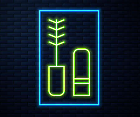 Glowing neon line Mascara brush icon isolated on brick wall background. Vector