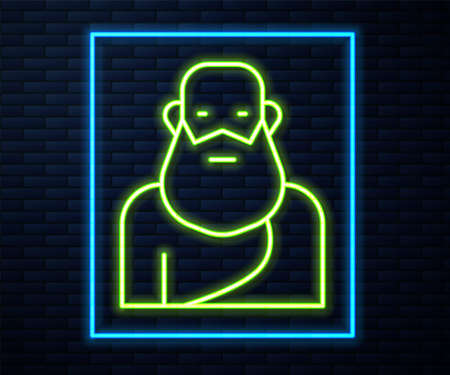 Glowing neon line Socrates icon isolated on brick wall background. Sokrat ancient greek Athenes ancient philosophy. Vector