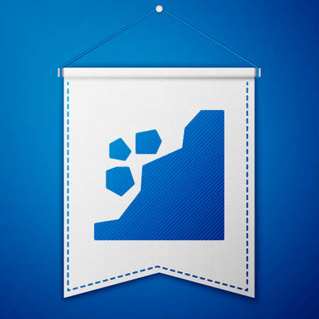 Blue Landslide icon isolated on blue background. Stones fall from the rock. Boulders rolling down a hill. Rockfall. White pennant template. Vector Illustration