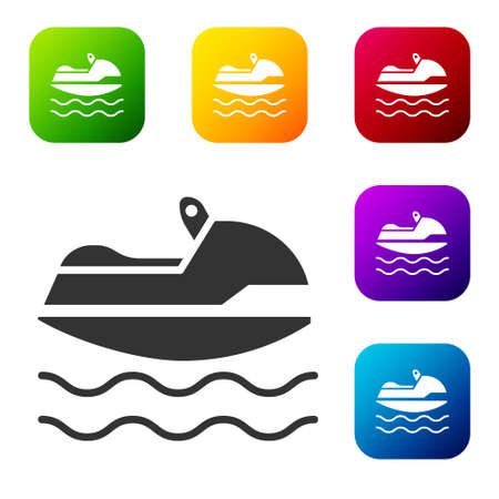 Black Jet ski icon isolated on white background. Water scooter. Extreme sport. Set icons in color square buttons. Vector Illustration Illustration
