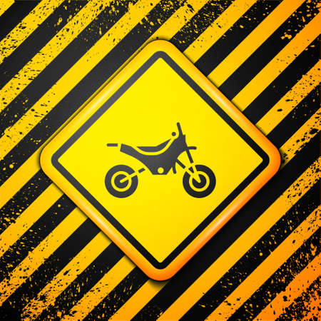 Black Mountain bike icon isolated on yellow background. Warning sign. Vector Illustration Banco de Imagens - 153151804