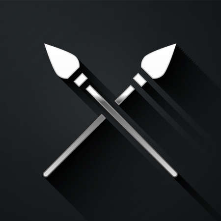 Silver Crossed medieval spears icon isolated on black background. Medieval weapon. Long shadow style. Vector